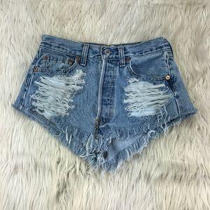 Vintage Levi's High Waist Cut Off Denim Shorts